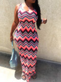 Scoop Neck Color Block Sleeveless Printed Maxi Dress