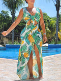 Deep V-Neck Sleeveless Print Maxi Dress