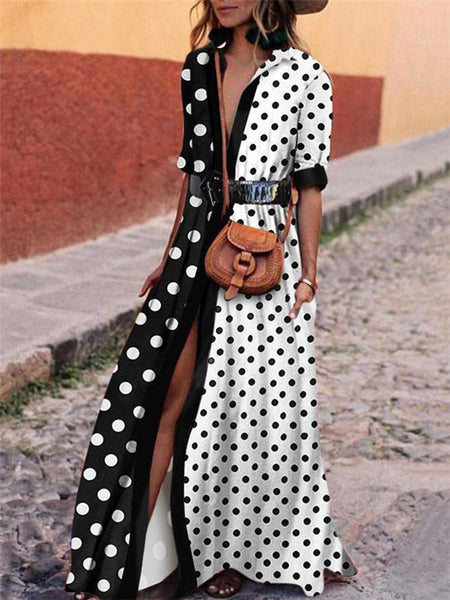 Polka Dot Turndown Collar Patchwork Maxi Dress