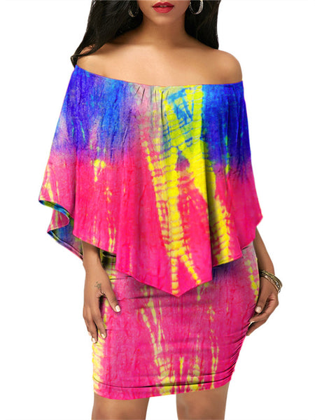 Ruffled Off the Shoulder Tie Dye Two Piece Dress