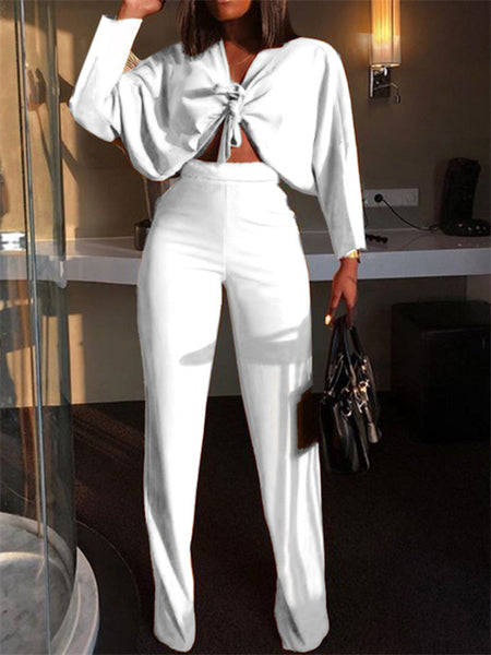 Solid Color Tie Up Long Sleeve Two Piece Sets