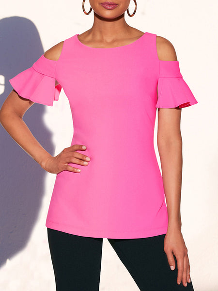 Cold Shoulder Solid Color Ruffle T-Shirt