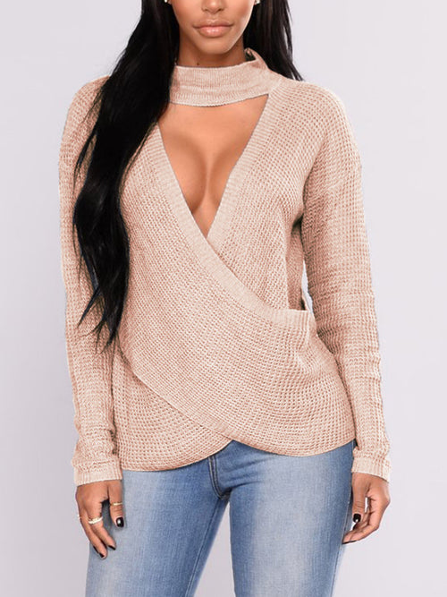 Solid Color Long Sleeve Hollow Out Sweater