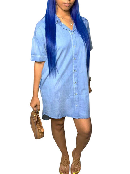 Button Up Short Sleeve Denim Shirt Dress