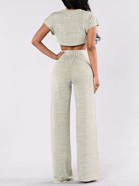 Round Neck Solid Color Short Sleeve Top & Wide Leg Pants