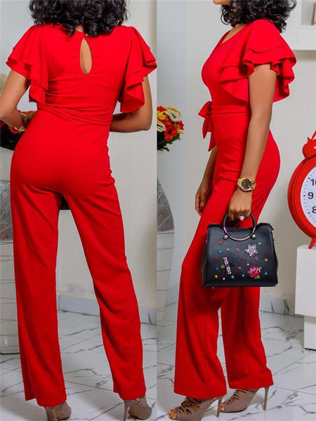 Solid Color Ruffle Sleeve Belted Jumpsuit