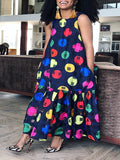 Sleeveless Round Neck Printed Pocket Maxi Dress