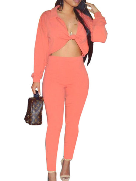 Tie Up Long Sleeve Solid Color Two Piece Sets