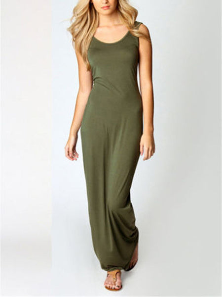 Sleeveless Solid Color Casual Maxi Dress