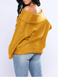 Boat Neck Solid Color Lantern Sleeve Sweater