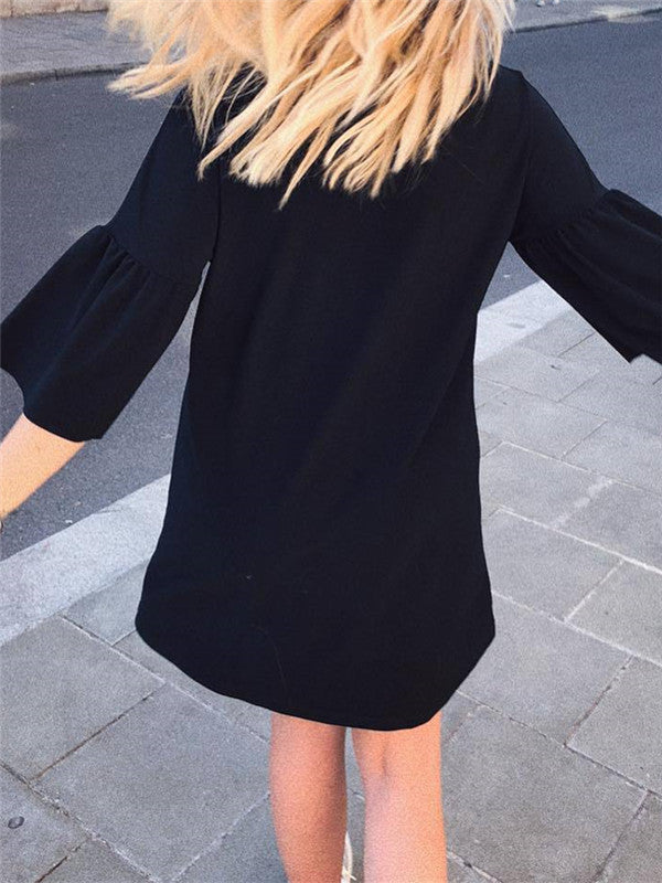 Flare Sleeve Solid Color Casual Mini Dress