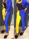 Color Block Zipper Up Long Sleeve Two-Piece Outfits