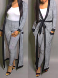 Long Sleeve Belted Casual Two Piece Outfits