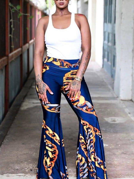 Printed Casual Flare Pants