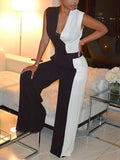 Color Block Sleeveless V Neck Wide Leg Jumpsuit
