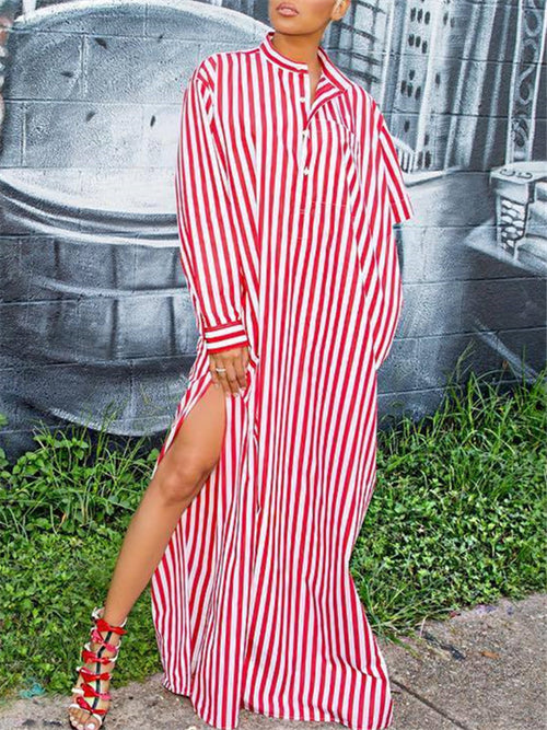 Side Slit Stripe Print Button Up Maxi Dress
