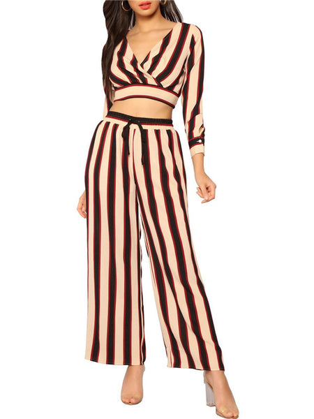 V Neck Long Sleeve Striped Two Piece Sets