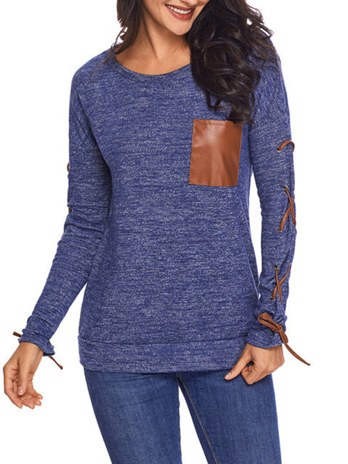 Solid Color Round Neck Long Sleeve Pocket Bandage Blouse
