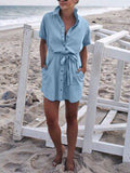 Turndown Collar Short Sleeve Button Pocket Denim Mini Dress(with belt)