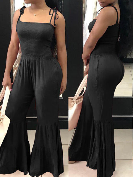 Solid Color Strapped Flare Jumpsuit