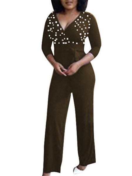 Faux Pearl Decor V Neck Belted Jumpsuit