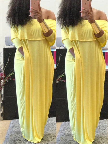 f69f2ff88f176 Solid Color Off the Shoulder Ruffled Maxi Dress – ForeverShe
