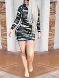 Camouflage Print Long Sleeve Patchwork Mini Dress