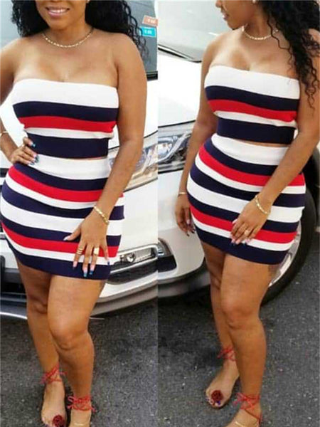 Stripe Print Strapless Two Piece Dress
