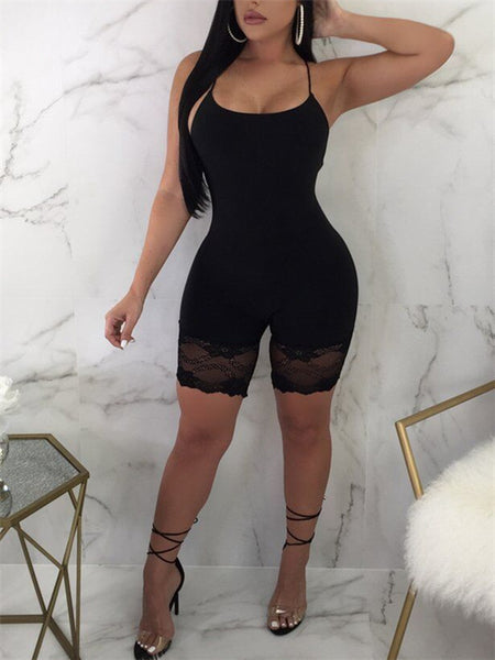 Spaghetti Straps Lace Panel Solid Color Romper