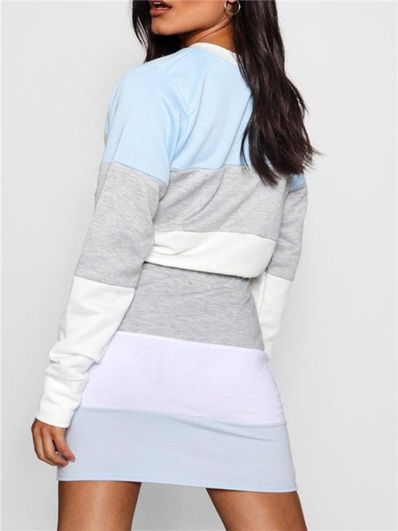 Color Block Long Sleeve Drawstring Two Piece Dress