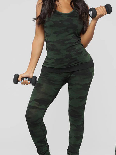 Camouflage Print Sleeveless Two Piece Outfits