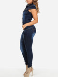 Cap Sleeve Turndown Collar Pocket Button Denim Jumpsuit