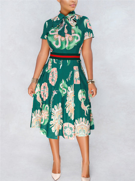 High Waist Short Sleeve Printed Midi Dress