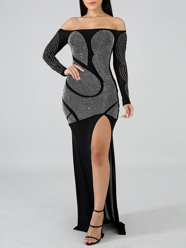 Rhinestone High Slit Off The Shoulder Solid Color Club Dress