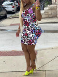 Feather Appliques Leopard Mini Dress