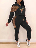 Leopard Splicing Carton Print Two Piece Outfits