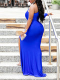 Solid Color Off The Shoulder Hollow Out High Slit Maxi Party Dress