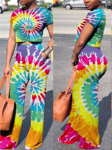 High Waist Short Sleeve Tie Dye Two Piece Sets