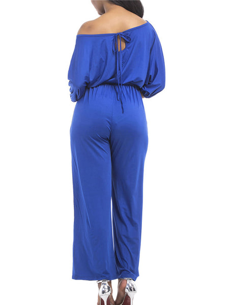 Batwing Sleeve Skew Neck Solid Color Casual Jumpsuit