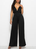 Deep V Neck Sleeveless Solid Color Jumpsuit