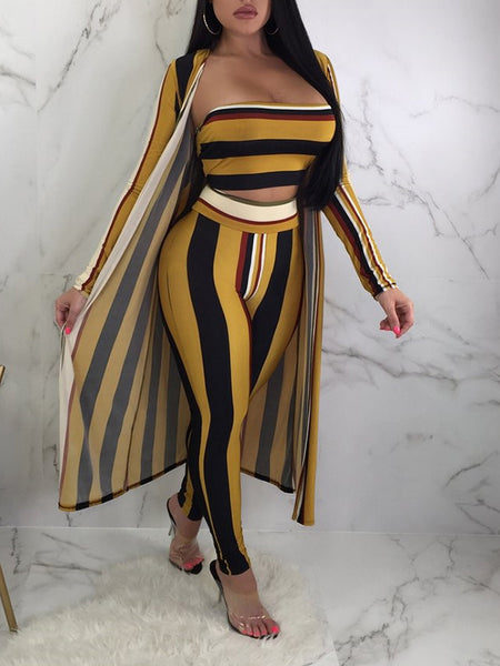 Off The Shoulder Stripe Three Piece Outfits