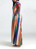Short Sleeve Round Neck Stripe Print Pocket Maxi Dress