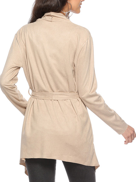 Long Sleeve Solid Color Turndown Collar Belted Coat