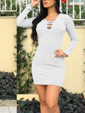 Long Sleeve V Neck Solid Color Mini Dress