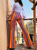 Stripe Print High Waist Casual Flare Pants