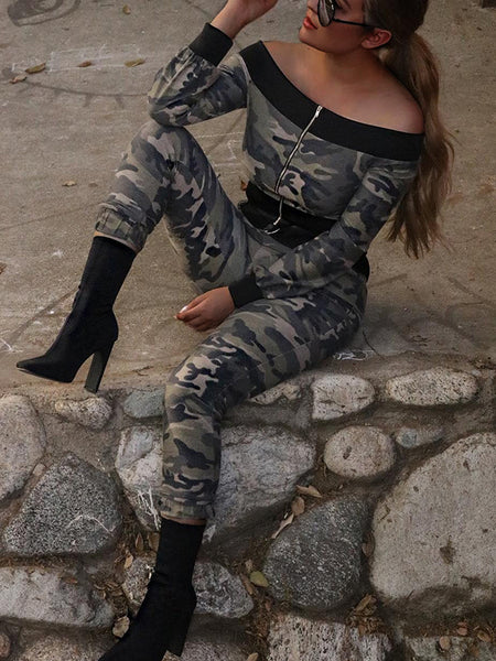 Camouflage Printed Of The Shoulder Zipper Up Two-Piece Outfits