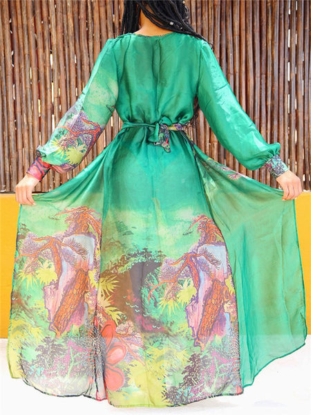 601d5221246b5 Long Sleeve Printed Chiffon Maxi Cover Up – ForeverShe