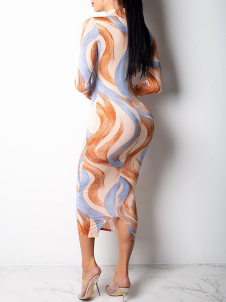 Digital Print High Neck Long Sleeve Maxi Dress