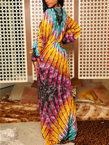 High Slit Plunging Neckline Printed Maxi Dress