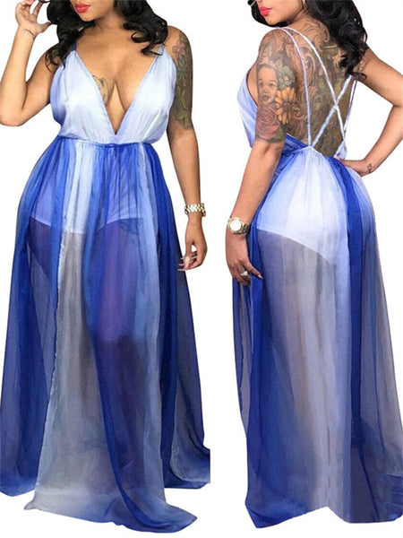 Plunging Neckline Open Back Tie Dye Maxi Dress